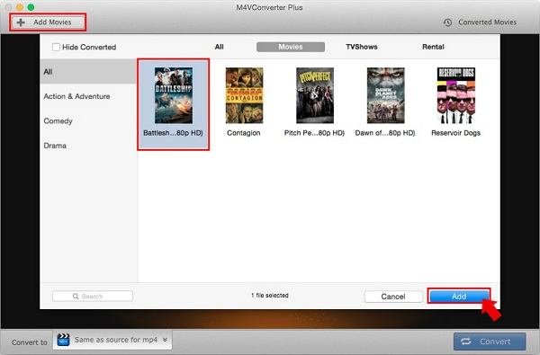 add iTunes purchased movies from the M4V to AAC converting software