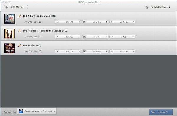 Add files to m4v video converter, remove itunes drm