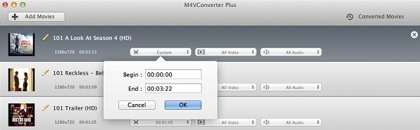 clip the video, M4VConverter Plus