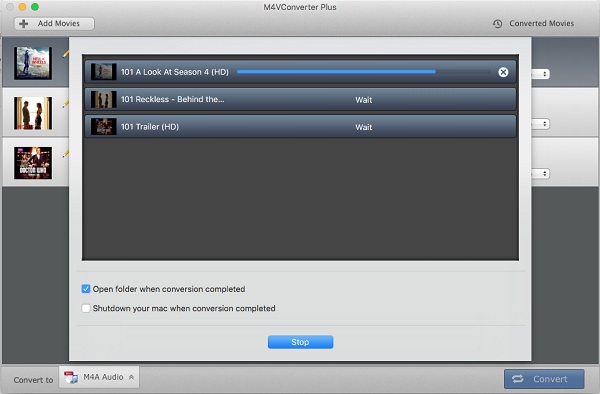 Start extracting M4A from iTunes movies