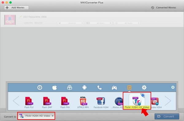 Convert iTunes video for Flickr format