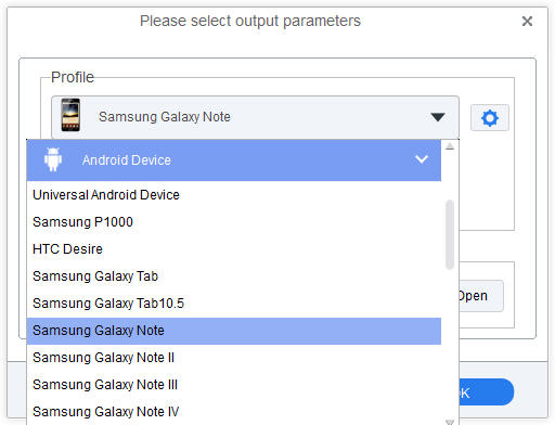 set Galaxy Note as output format