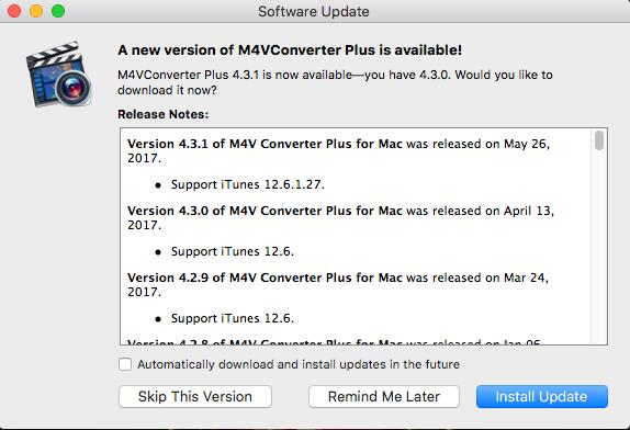 M4V Converter Plus for Mac Updated to v4 3 1 to support iTunes 12 6 1 27